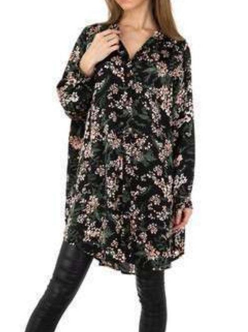 Flower blouse black SW one size
