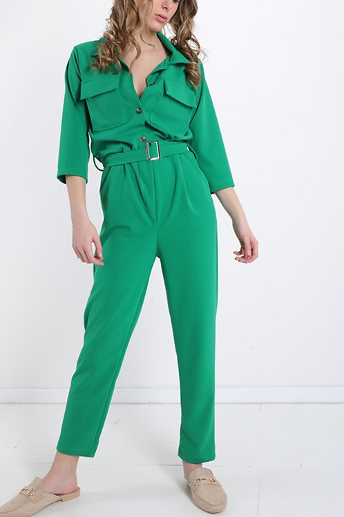 Jumpsuit hoge taille green fp