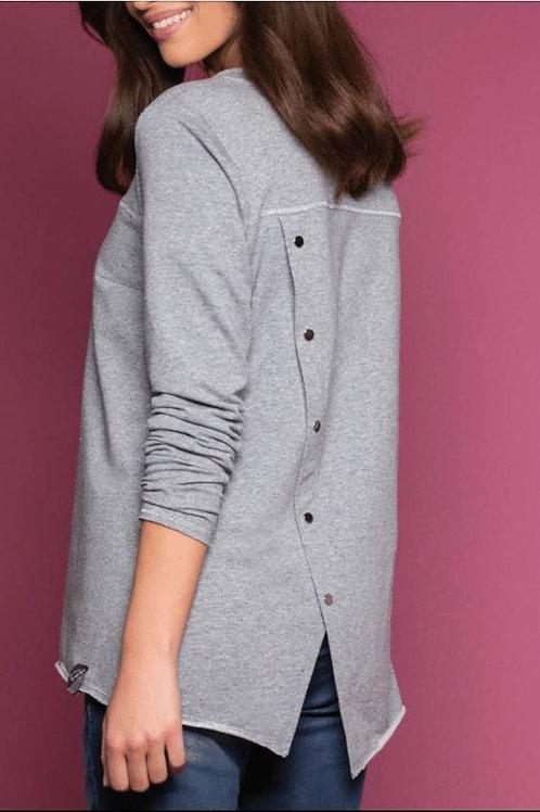 trui Zaps soft grey met knopen achteraan