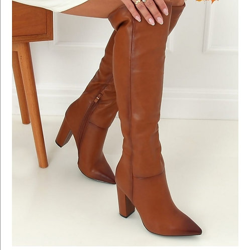 Hight  boots camel leather look