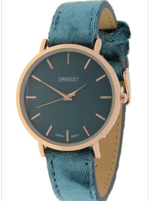horloge daim donker turqoise groot model