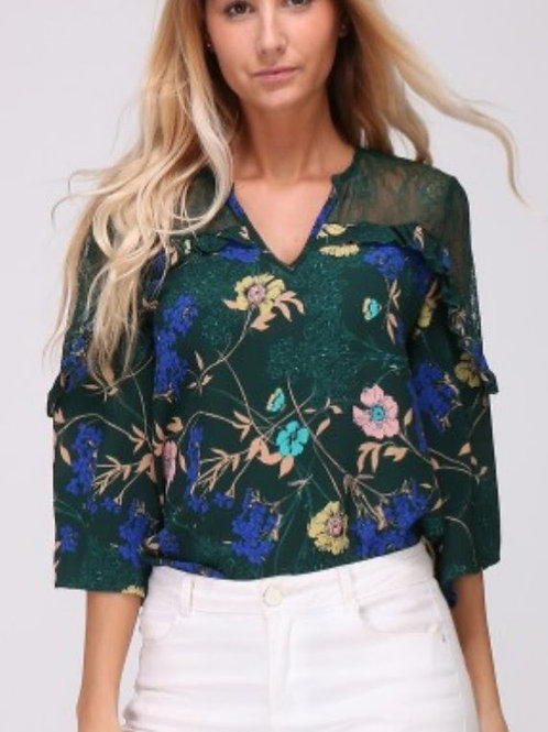 flower green blouse met kant