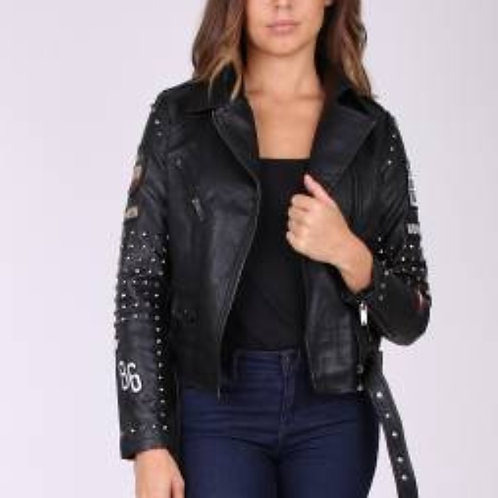 jacket leather look met stitches   new