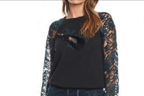 sweater met kanten mouwen zwart/blauw