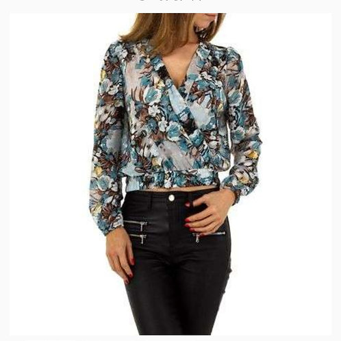 new print flower blouse