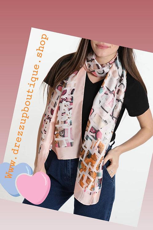 Sjaal satin pink
