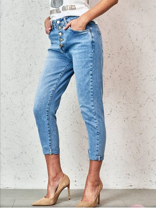 Chino jeans met knopen