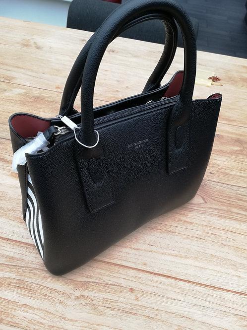 handtas zwart met stepen aan zijkant