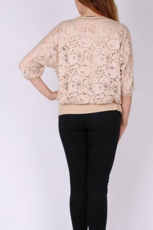 top beige with lace plus size