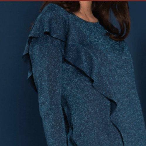 Coctail jurk blauw/turqoise glitter Zaps