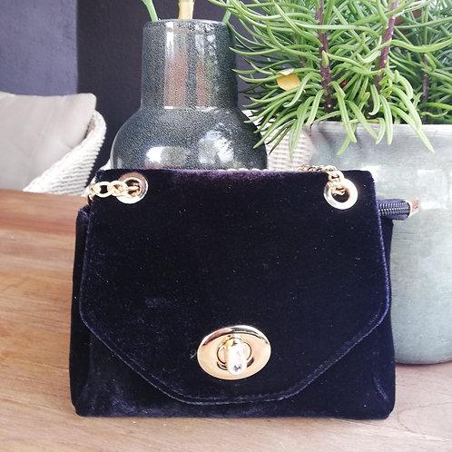 Shoulder bag velvet black