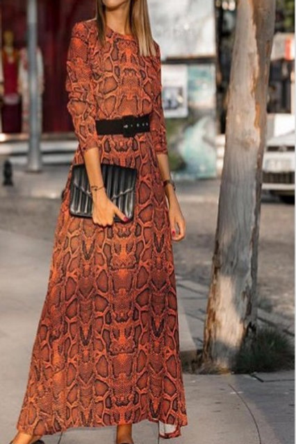 lang kleed print oranje laatse stuk topper SMALL