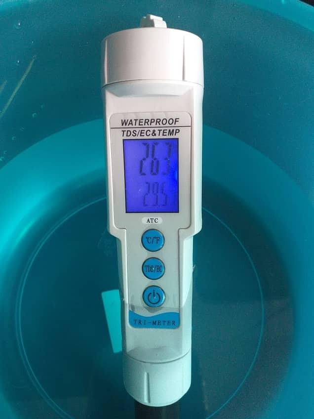 EC meter measuring MKP concentration