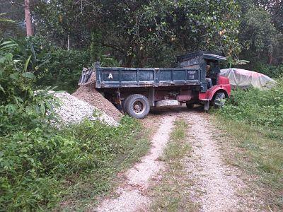 Truck unloading gravel