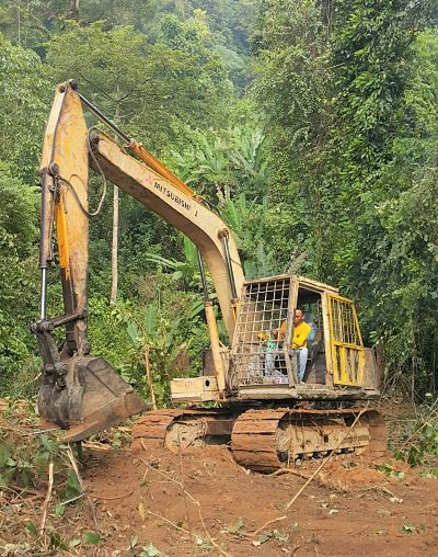 Durian farm, land clearing, excavator, durian planting