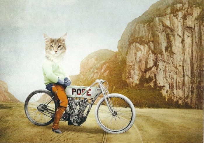 Picture of man with cat head sitting astride a Pope Motorcycle on a deserted road.