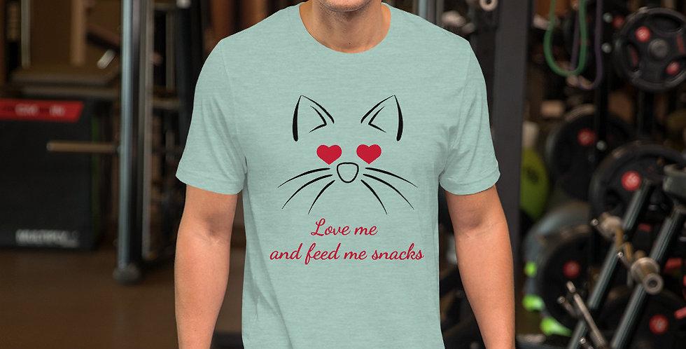Love Me Feed Me Cat Short-Sleeve Unisex T-Shirt