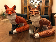 Hand Painted Concrete Foxes