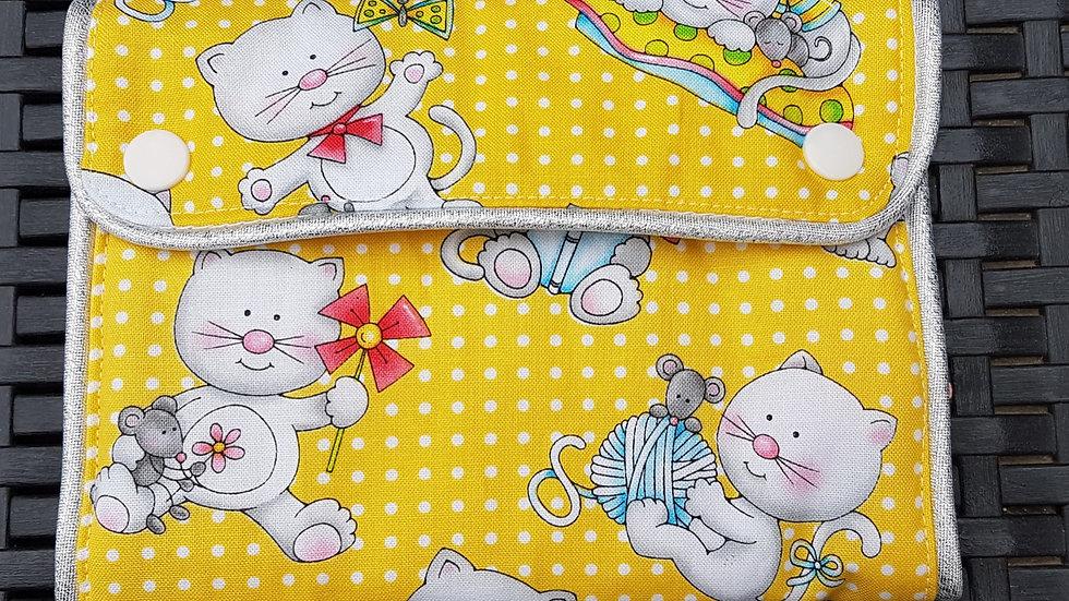 Trousse à barrettes jaune motif chat