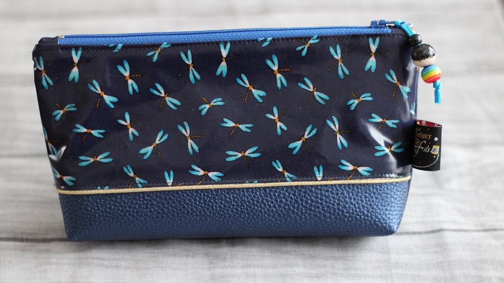 Trousse  Kokeshi motif libellules