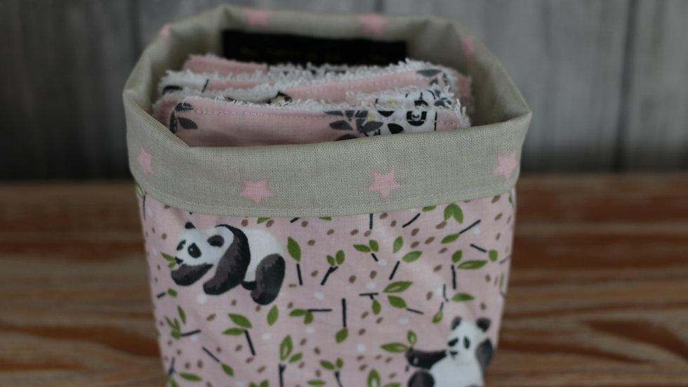 Porte lingettes  motif panda/5lingettes bambou as