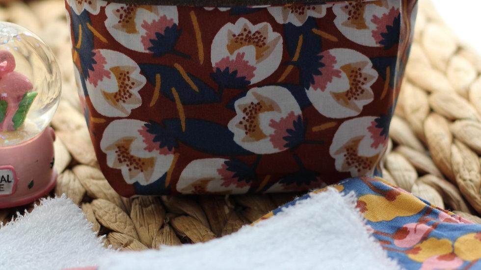 Porte lingettes  crocus ton blanc fond rouille/5lingettes bambou as