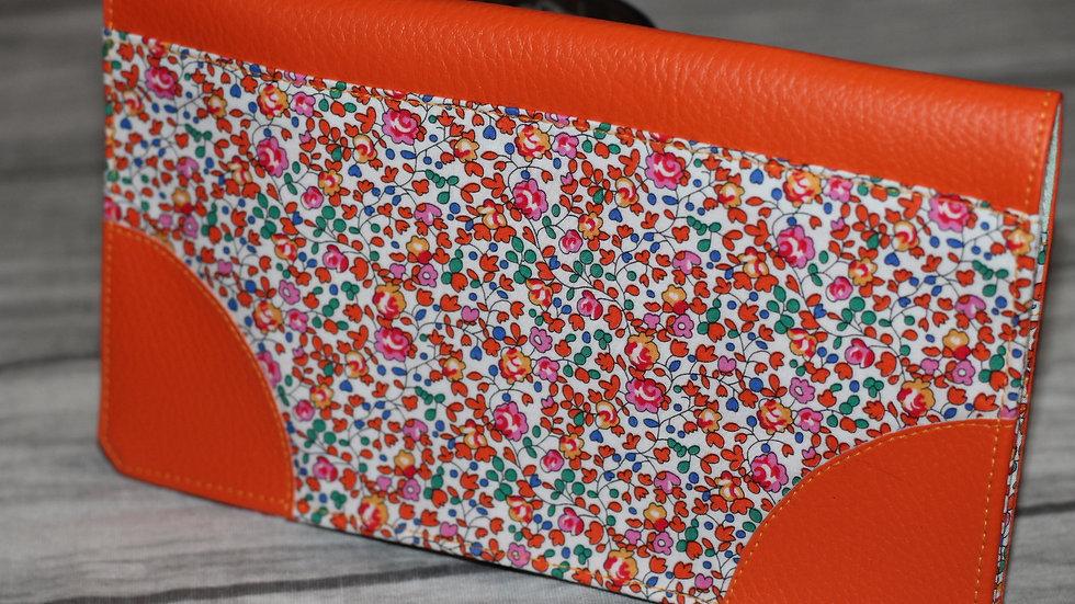 Porte chéquier orange liberty fleurette orangées