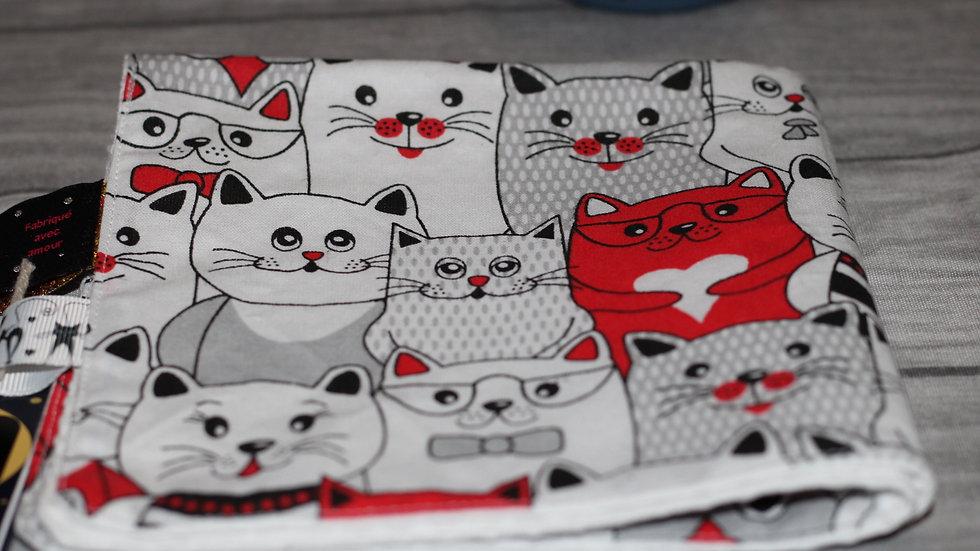 Serviette de cantine carrée motif chat