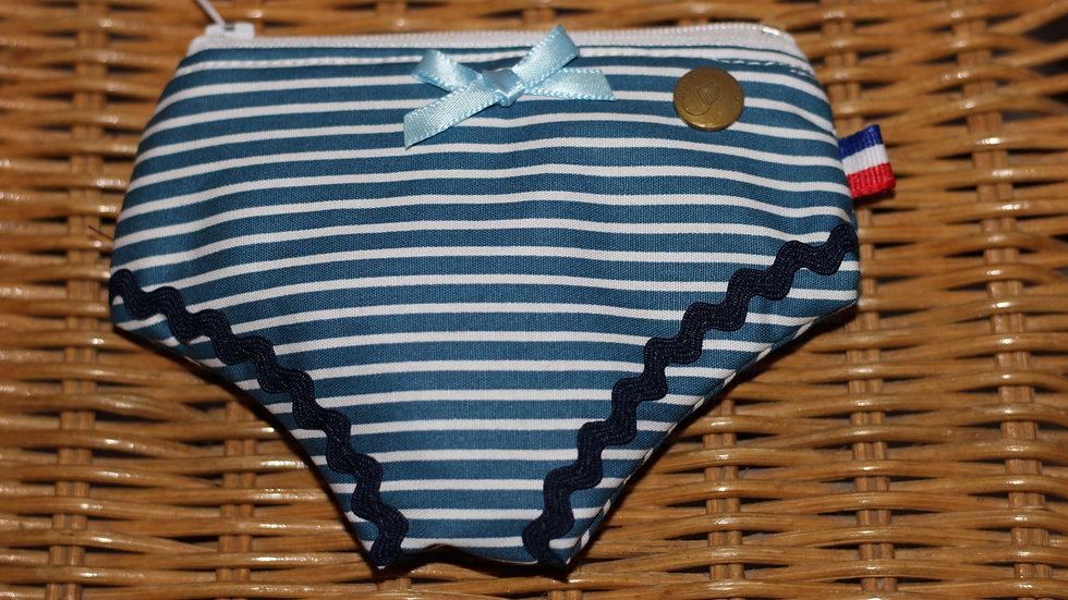 Porte monnaie culotte marinière bleue
