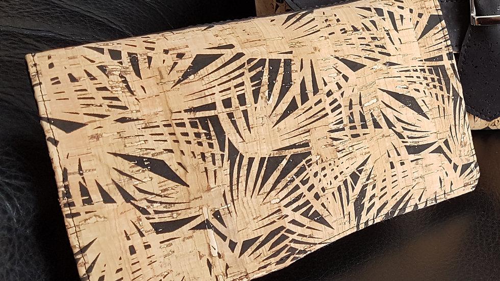 Porte chéquier liège noir imprimé sauvage beige