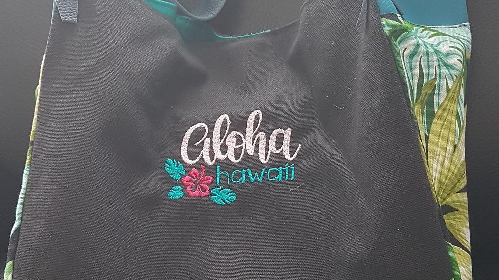 Sac boule motif tropical broderie Aloha