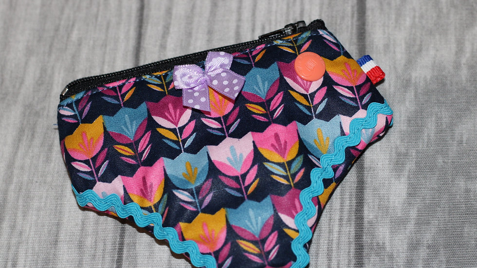 Porte monnaie culotte tulipes multicolores