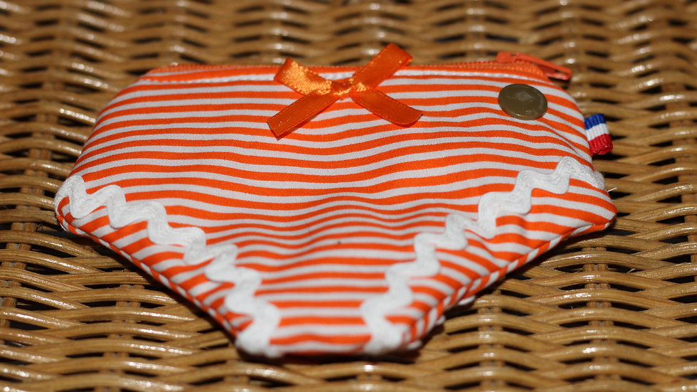 Porte monnaie culotte motif marinière orange