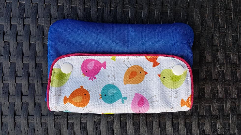 Pochette imperméable oiseaux/bleu pour serviette hygiénique
