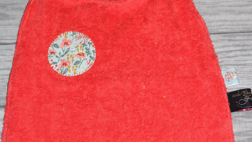 Serviette de cantine motif fleurette corail