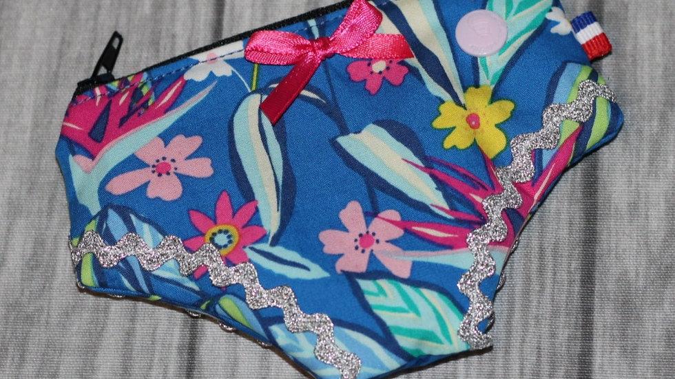 Porte monnaie culotte bleu motif fleuri