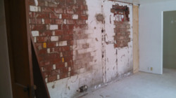 Removed paneling from brick wall
