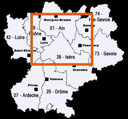 Zone de déplacement de BS Toiture dans le Rhone l'Ain et l'Isere