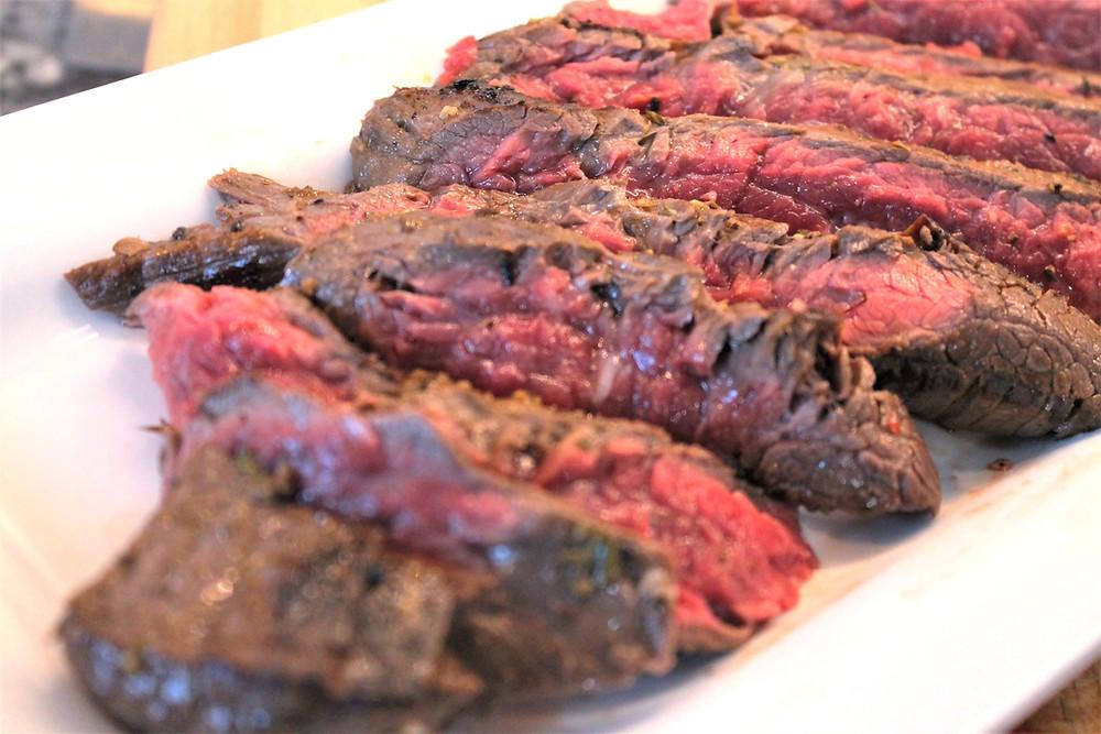 Sliced steak on a white plate