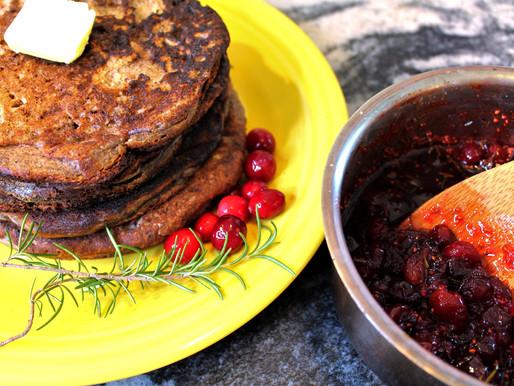 Buckwheat Pancakes with Savory Cranberry Sauce (VIDEO)