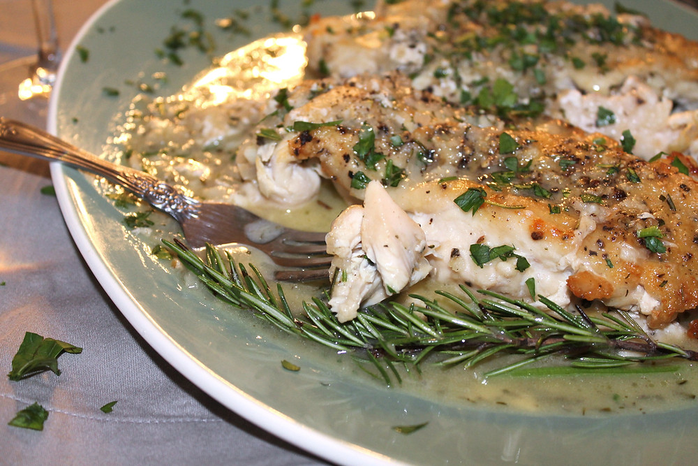 Homemade chicken Provencal with white pan sauce on a plate with a fork and a sprig of rosemary