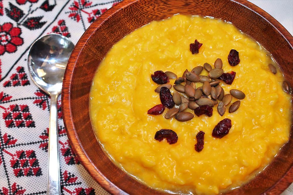 Ukrainian sweet pumpkin porridge with goat milk