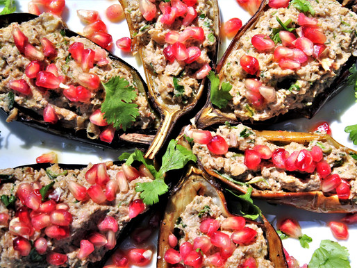 Eggplant Boats with Walnut Meat and Pomegranate Seeds: Vegan and Gluten Free (VIDEO)
