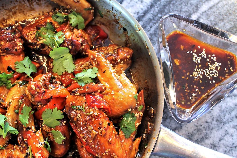 Homemade chicken wings with homemade teriyaki sauce