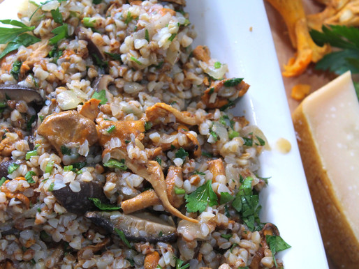 Buckwheat Risotto (Grechotto) with Chanterelle Mushrooms (VIDEO)