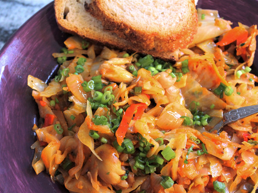 My Mom's Braised Cabbage with Oyster Mushrooms & Caraway Seeds: Vegan & Gluten Free (VIDEO)