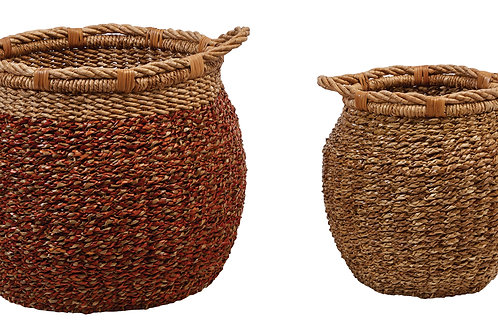 "15"" & 18.25"" Handwoven Water Hyacinth & Rattan Baskets with Handles"
