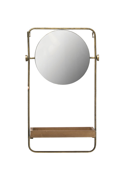 "27.25""H Metal Wall Mirror with Wood Shelf & Towel Bar"