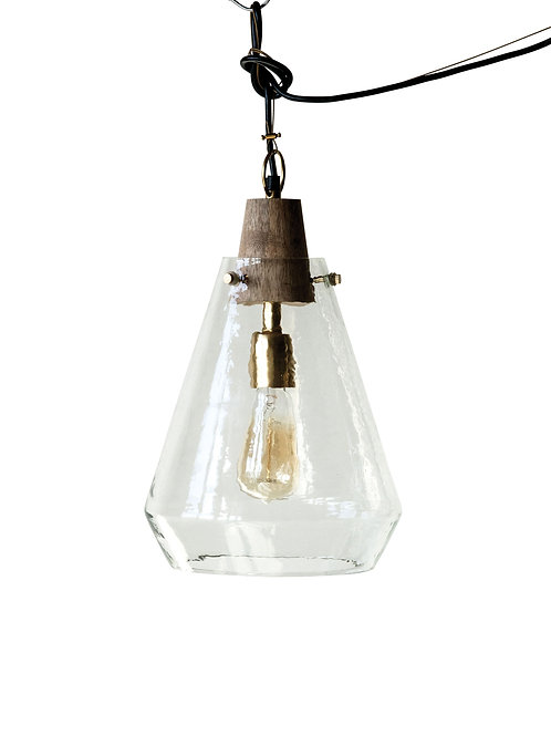 Small Clear Handblown Glass Pendant Light with Wood Neck