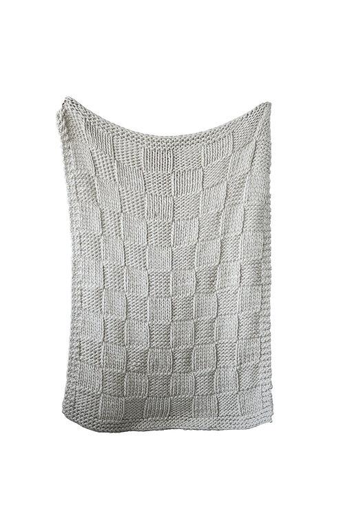Grey Chunky Knit Acrylic Throw
